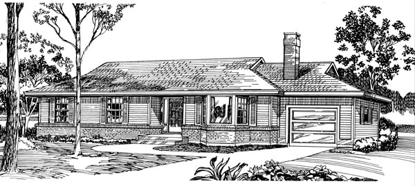 Ranch House Plan 55384 Elevation