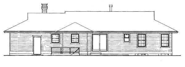 Ranch House Plan 55384 Rear Elevation