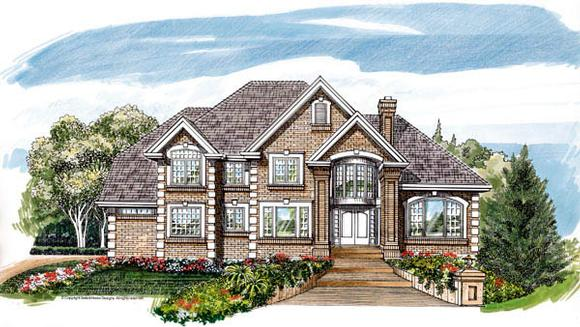 Traditional House Plan 55480 with 4 Beds, 4 Baths, 3 Car Garage Elevation