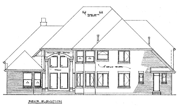 Traditional House Plan 55480 with 4 Beds, 4 Baths, 3 Car Garage Rear Elevation