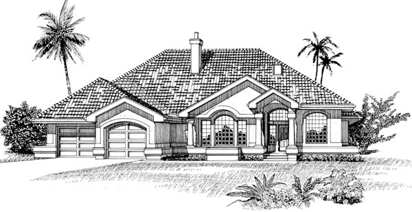 Mediterranean, One-Story House Plan 55482 with 3 Beds, 3 Baths, 2 Car Garage Elevation