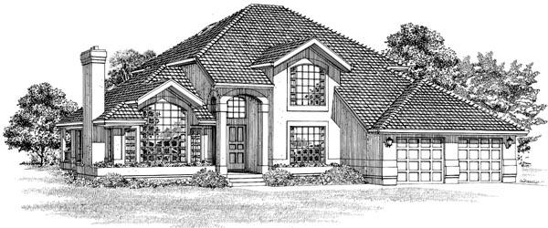 Mediterranean House Plan 55484 with 3 Beds, 3 Baths, 2 Car Garage Elevation