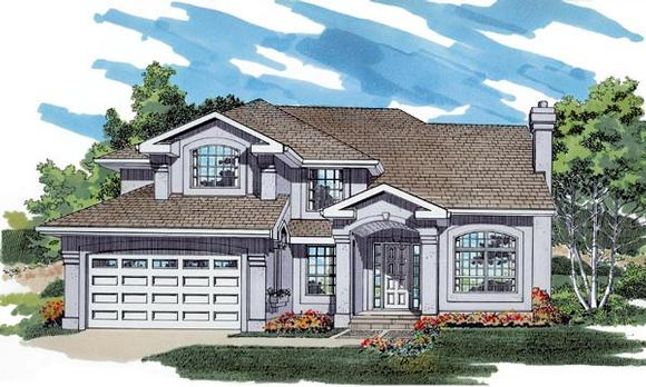 Mediterranean House Plan 55485 with 4 Beds, 3 Baths, 2 Car Garage Elevation