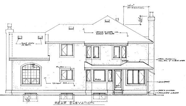 Mediterranean House Plan 55485 with 4 Beds, 3 Baths, 2 Car Garage Rear Elevation