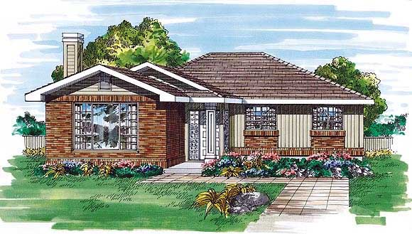 One-Story, Ranch House Plan 55505 with 3 Beds, 2 Baths Elevation