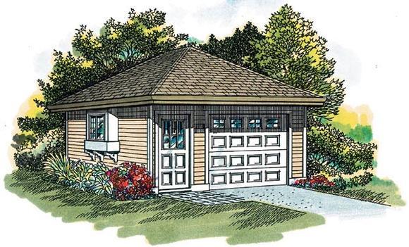 Traditional 1 Car Garage Plan 55521 Elevation