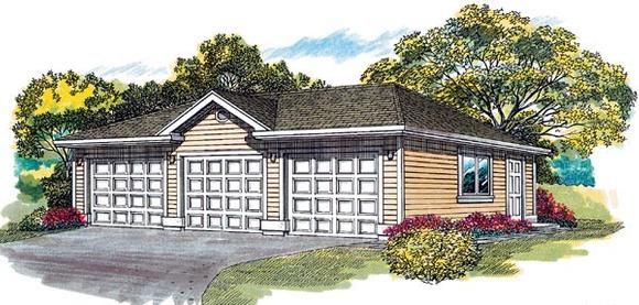 Traditional 3 Car Garage Plan 55523 Elevation