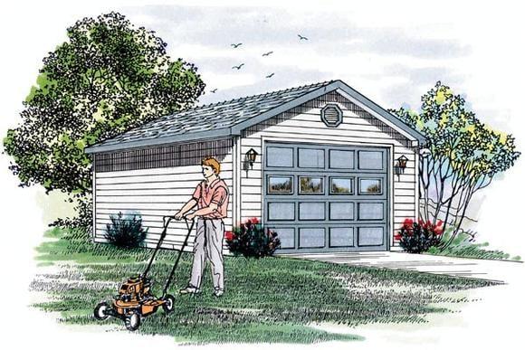 Traditional 1 Car Garage Plan 55524 Elevation