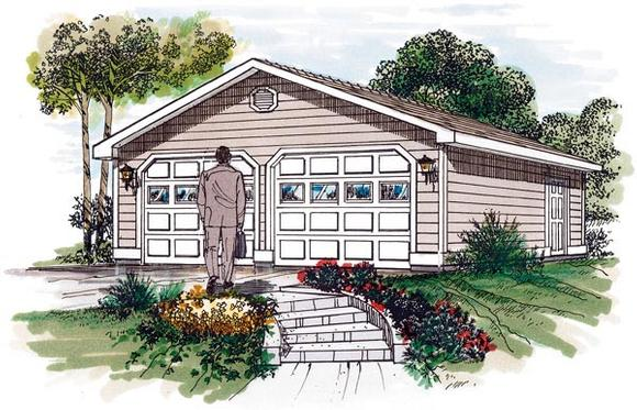 Traditional 2 Car Garage Plan 55525 Elevation
