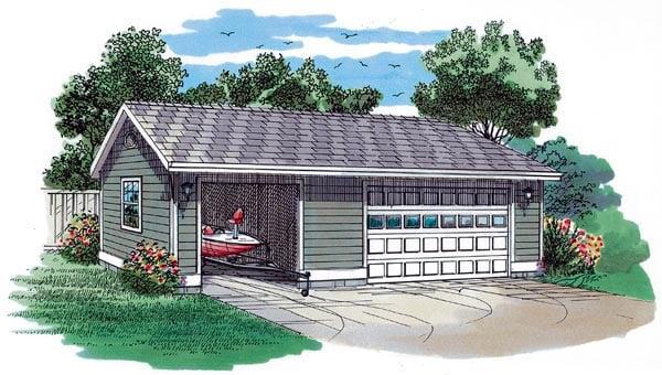 Traditional Garage Plan 55533 Elevation