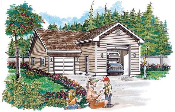 Traditional 2 Car Garage Plan 55536, RV Storage Elevation