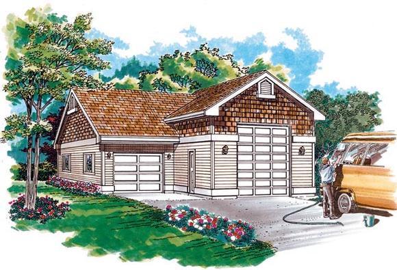 Traditional 2 Car Garage Plan 55537, RV Storage Elevation