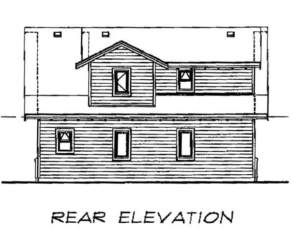 Craftsman Rear Elevation of Plan 55548