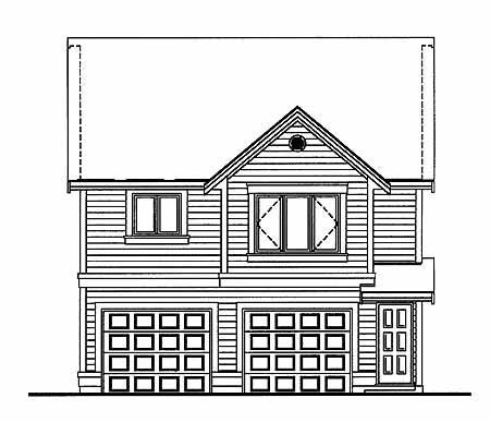 Traditional 2 Car Garage Apartment Plan 55549 with 1 Beds, 1 Baths Rear Elevation