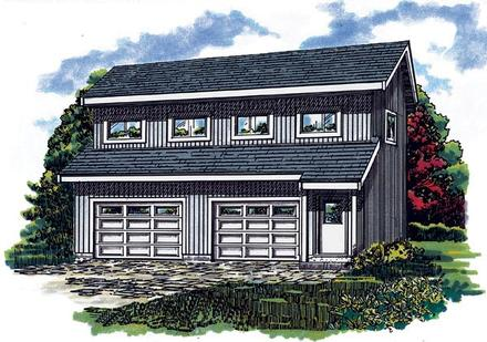 Contemporary Elevation of Plan 55550