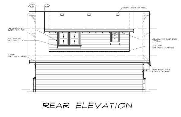 Craftsman Rear Elevation of Plan 55553