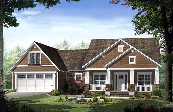 Cottage Country Craftsman Southern House Plan 55600 Elevation