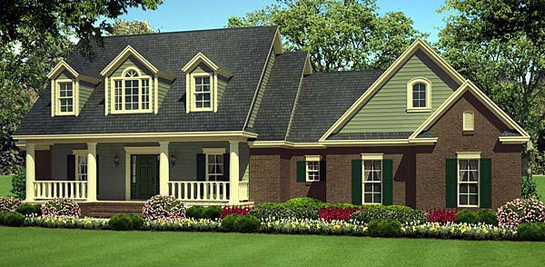House Plan at FamilyHomePlans comCountry Farmhouse Southern Traditional House Plan Elevation