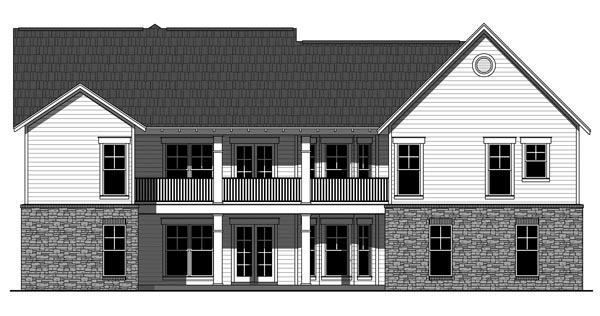 Cottage Country Craftsman House Plan 55603 Rear Elevation