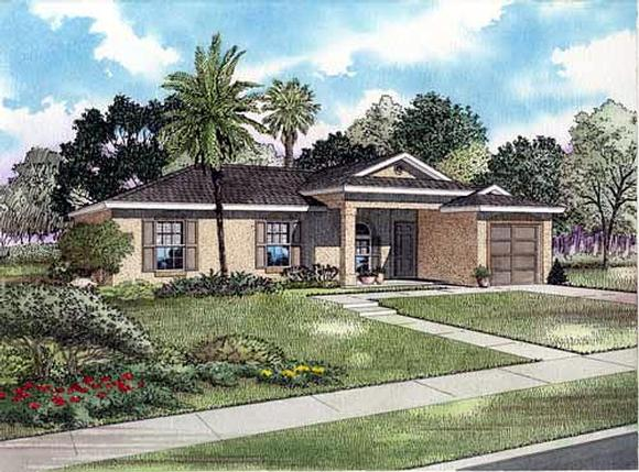 One-Story House Plan 55706 with 3 Beds, 2 Baths, 1 Car Garage Elevation