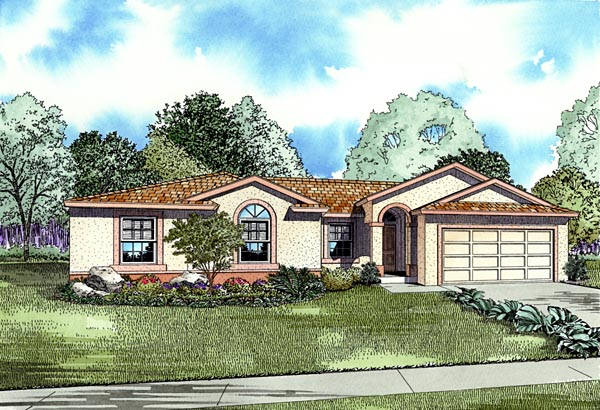One-Story House Plan 55712 with 4 Beds, 2 Baths, 2 Car Garage Elevation