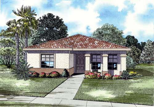 House Plan 55713 with 4 Beds, 3 Baths Elevation
