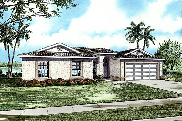 One-Story House Plan 55719 with 4 Beds, 2 Baths, 2 Car Garage Elevation