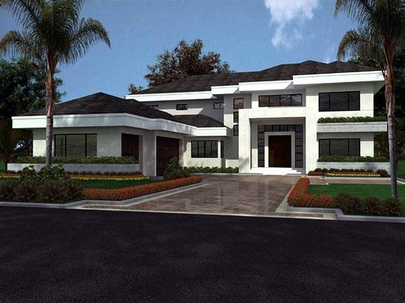 Florida, Modern House Plan 55782 with 5 Beds, 5 Baths, 3 Car Garage Elevation