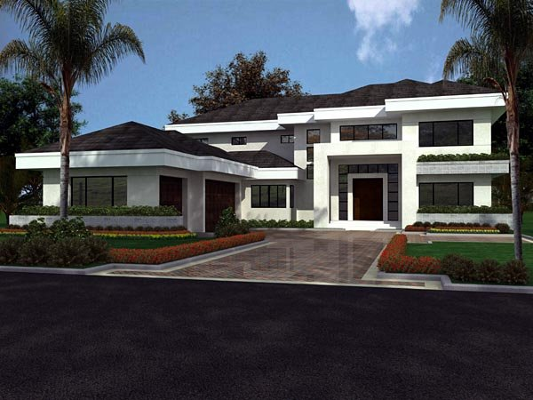 Florida, Modern House Plan 55782 with 5 Beds, 5 Baths, 3 Car Garage Elevation