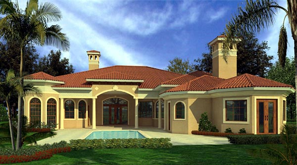 Mediterranean House Plan 55853 Rear Elevation