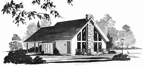 Contemporary Retro House Plan 56000 Elevation