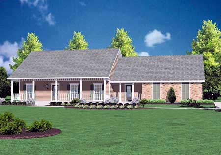 Country, One-Story House Plan 56049 with 3 Beds, 2 Baths, 2 Car Garage Elevation