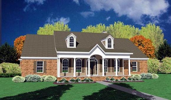 Colonial, One-Story House Plan 56252 with 4 Beds, 2 Baths, 2 Car Garage Elevation