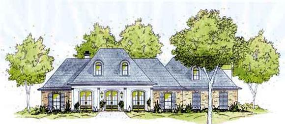 European House Plan 56266 with 3 Beds, 3 Baths, 2 Car Garage Elevation