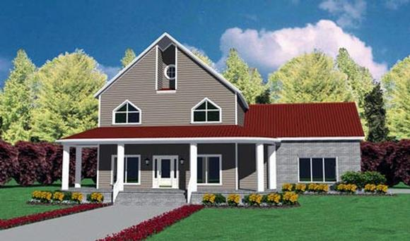 Traditional House Plan 56276 with 4 Beds, 3 Baths, 2 Car Garage Elevation