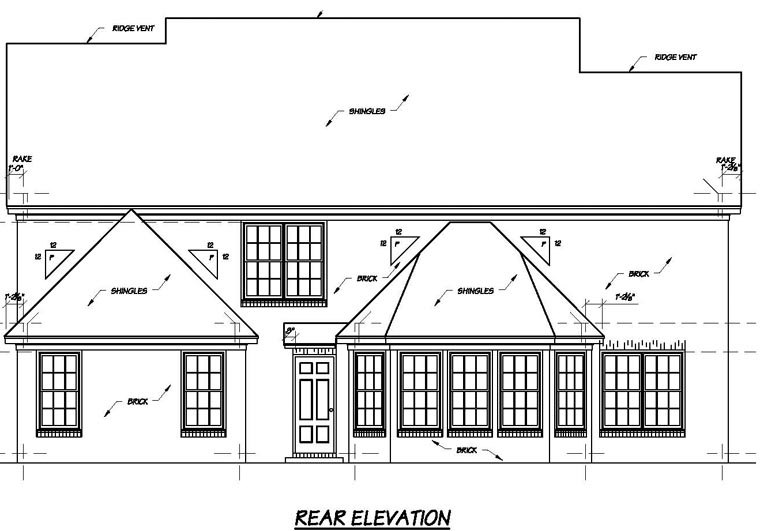 Traditional House Plan 56278 Rear Elevation