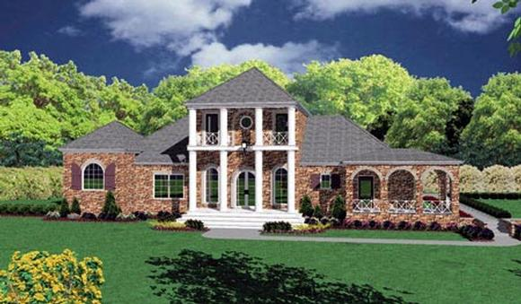 Colonial House Plan 56328 with 4 Beds, 3 Baths, 2 Car Garage Elevation
