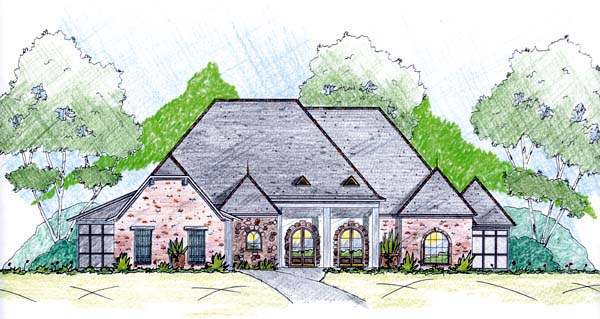 One-Story House Plan 56332 with 3 Beds, 4 Baths, 3 Car Garage Elevation