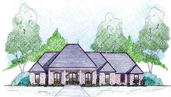 One-Story House Plan 56346 with 4 Beds, 4 Baths, 2 Car Garage Elevation
