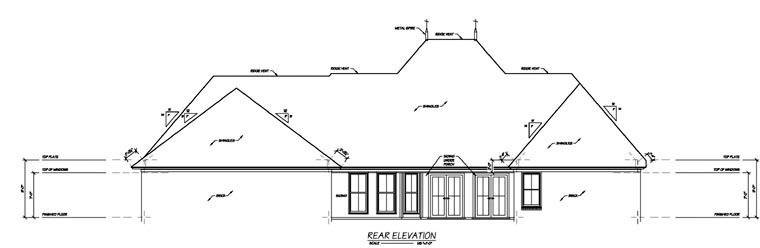 One-Story House Plan 56346 with 4 Beds, 4 Baths, 2 Car Garage Rear Elevation