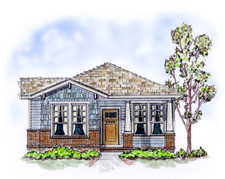 Elevation of Bungalow   Craftsman   House Plan 56501