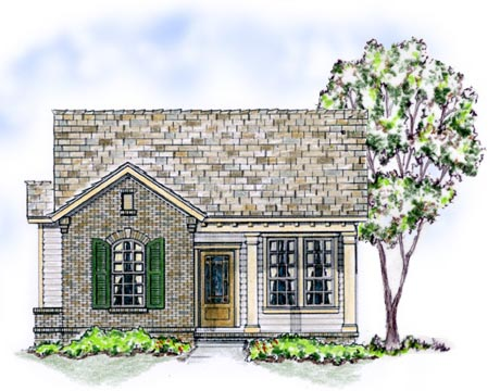 Elevation of Bungalow   Traditional   House Plan 56502