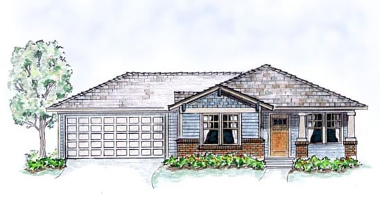 Elevation of Bungalow   Craftsman   House Plan 56503