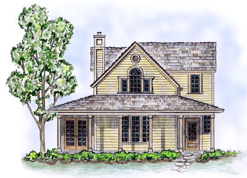 Elevation of Country   Farmhouse  Narrow Lot   House Plan 56506