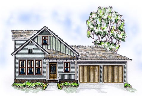 Elevation of Bungalow   Country   Farmhouse  House Plan 56507