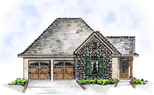 Elevation of Bungalow   Cottage   European   House Plan 56509
