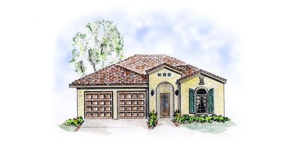 Mediterranean, Southwest House Plan 56510 with 2 Beds, 3 Baths, 2 Car Garage Elevation