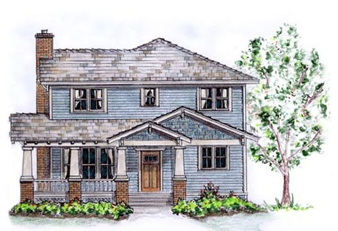 Country Craftsman Traditional House Plan 56515 Elevation