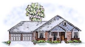 Craftsman , One-Story , Traditional House Plan 56520 with 3 Beds, 2 Baths, 2 Car Garage Elevation