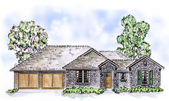 European Traditional House Plan 56522 Elevation